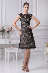 Special Bateau Low Back Black Lace Knee-length Semi-formal Prom Dress