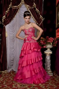 Hot Pink Sweetheart Beaded Brush Train Dress for Formal Prom with Layers