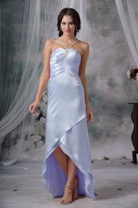 Elegant Lilac High-low Beaded Semi-formal Prom Dress with Straps in Boise ID