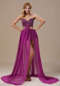 Sexy Purple Beaded Sweetheart High-low Dress for Formal Prom in Athol USA