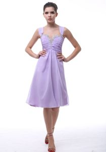 Lavender Ruched Knee-length Prom Dresses with Wide Straps in Arimo USA