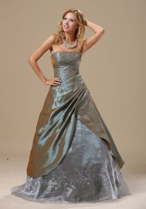 Olive Green Strapless Long Senior Prom Dress with Embroidery in Louisiana