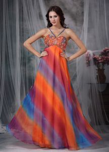 Colorful Beaded Floor-length Formal Prom Dress with Straps in Boise USA