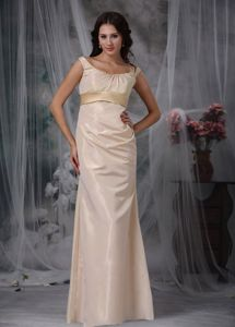 High Quality Scoop Neck Champagne Long Formal Prom Dress in Style