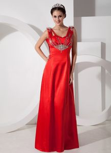 Latest Beaded Red Long Prom Dress with Special Back Design in Fashion