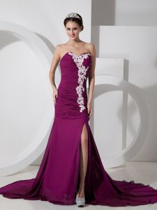 New Exquisite Appliqued Slitted Fuchsia Prom Gown Dresses under 150