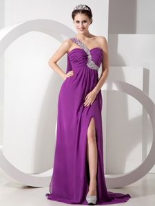 2013 Desirable Beaded Slitted Purple Formal Prom Dress One Shoulder