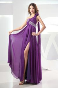 Watteau Train One Shoulder Beaded Slitted Formal Prom Dress in Eggplant Purple
