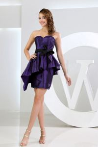 Unique Mini-length Purple Prom Dress for Slim Girls with Peplum and Sash