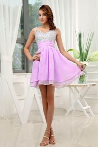 The Best Straps Beaded Informal Prom Dress in Lavender and Silver