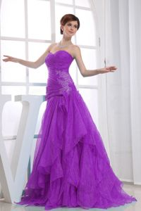 A-line Floor-length Purple Formal Prom Gown Dress with Appliques