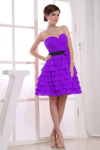 Pitman NJ Sweetheart Purple Short Dresses for Prom with Tiered Hem