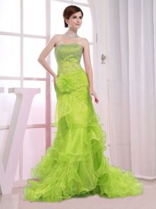Strapless Brush Train Beaded Yellow Green Organza Prom Dress with Ruffled Hem