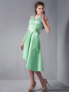 Beautiful Halter Apple Green Prom Dress with Bow and Asymmetrical Hem