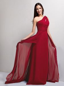 Rahway NJ Simple One Shoulder Chiffon Wine Red Prom Dress Cheap