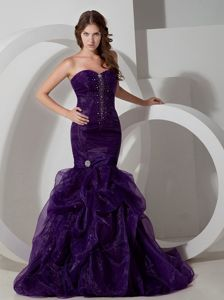 Perfect Mermaid Formal Prom Outfits in Dark Purple with Beads and Pick-ups