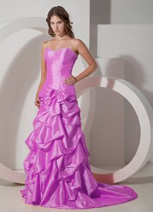 A-line Lavender Formal Prom Dress with Pick-ups and Bow in Paterson NJ