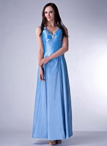 Recommended Zipper-up V-neck Baby Blue Long Prom Dress for Slim Girls