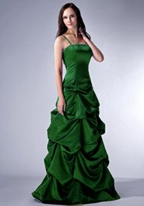 Spaghetti Straps Floor-length Dark Green Junior Prom Dress with Pick-ups
