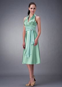 2013 Halter Apple Green Tea-length Semi-Formal Prom Dresses with Sash