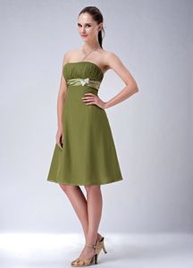 Strapless Chiffon Olive Green Short Homecoming Prom Dress for Juniors