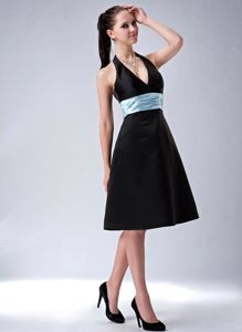 Affordable Halter Black Short Prom Dress with Aqua Blue Sash under 100