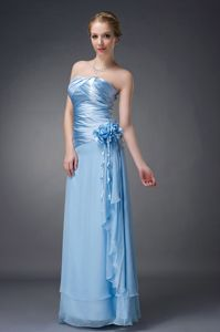 Beautiful Strapless Ruched Baby Blue Long Juniors Prom Dress with Flower