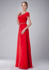 Classic Scoop Neck Floor-length Red Prom Dress with Beading on Sale