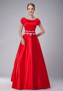 A-line Scoop Neck Short Sleeves Red Formal Dress for Prom with Appliques