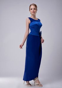 Impressive Scoop Neck Blue Long Prom Dress for Mother Of The Bride