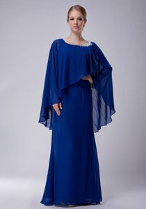 Vintage Scoop Neck Chiffon Blue Long Prom Outfits with Cape Clearance