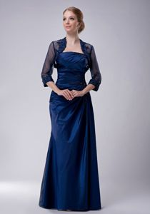 Strapless Appliqued Ruched Navy Blue Formal Prom Attire for Wholesale