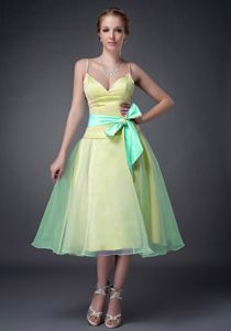Customer Made Spaghetti Straps Two-toned Prom Dress Tea-length with Sash