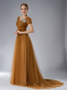Well-Packaged Tulle Short Sleeves Brown Formal Prom Dress Brush Train
