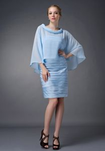 Randolph NJ Baby Blue Ruched Short Informal Prom Dress with Cape