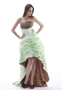 Hi-Lo Pick-ups Leopard Print Apple Green Prom Dress for Flat Chested Girls
