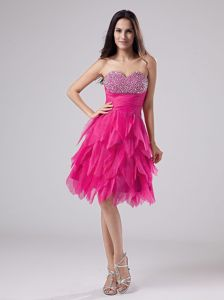 Phillipsburg NJ Famous Beaded Hot Pink Cocktail Prom Dress in Style