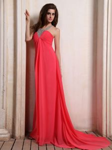 Impressive Coral Red Formal Prom Gown Dress with Beaded Neck on Sale