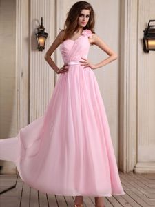 Beautiful One Shoulder Long Chiffon Prom Outfits in Baby Pink with Flower