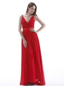 Fast Shipping V-neck Ruched Red Chiffon Maxi Prom Dress for Wholesale