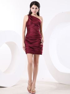 Red Bank NJ One Shoulder Ruched Wine Red Prom Dress Mini-length