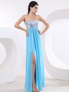 Dreamy Silver and Aqua Blue Slitted Formal Prom Dress with Paillette
