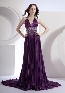 Customized Halter Pleated Eggplant Purple Formal Prom Attire with Beads