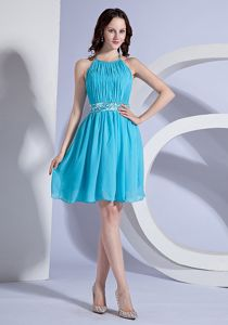 Perth Amboy USA Halter Ruched Beaded Short Prom Dress in Aqua Blue