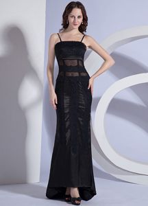 Elegant Spaghetti Straps Black Long Prom Dresses for Flat Chested Girls
