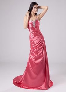Halter Zipper-up Ruched Beaded Formal Prom Outfits in Watermelon Red
