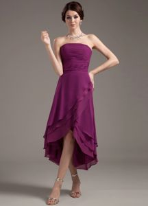 Customer Made High-low Strapless Dark Purple Prom Dress Discount