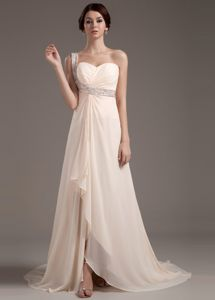 Champagne Chiffon Prom Dress with Beaded One Shoulder in Fashion