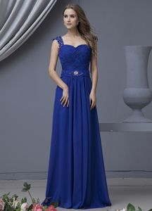 Well-packaged Straps Beaded Blue Long Formal Prom Dress in Paramus NJ
