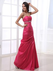 Lace-up Sweetheart Beaded Hot Pink Formal Junior Prom Dress on Discount